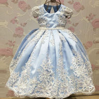 2017 New Arrival Ball Gown Flower Girl Dresses Blue Spring Pretty Flower Girls Dresses Custom With