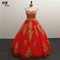 Elegant Red Ball Gown Prom Dresses With Gold Lace Strapless Backless 2018 New Arabic Party Dress Real Photo Cheap Prom Gowns