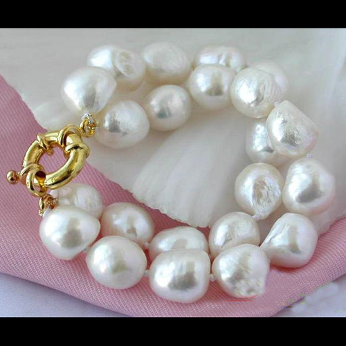 Charming Women Birthday Chirstmas Gift Pearl Bracelet,2Rows 11-15mm Rice White Freshwater Cultured Pearl Bracelet charming woven floral rivet bracelet for women