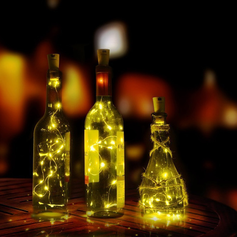 2M 20LED Wine Bottle Light Cork Shape Battery Copper Wire String Lights for Bottle DIY,Christmas, Wedding and Party ...