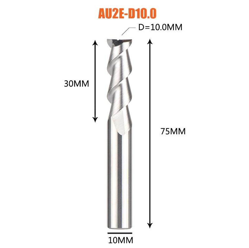 1 pc 3 флейты фрезы вольфрамового сплава концом ЧПУ фреза алюминий фреза для алюминия и деревообрабатывающие - Длина режущей кромки: 1PC-AU2E-D10.0