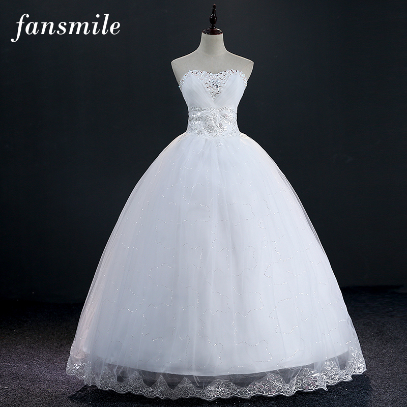 Fansmile Real Photo Vintage Lace Up Wedding Dress 2017 White Wedding Dress Vestidos Plus Size Ball Gown Princess Made in China