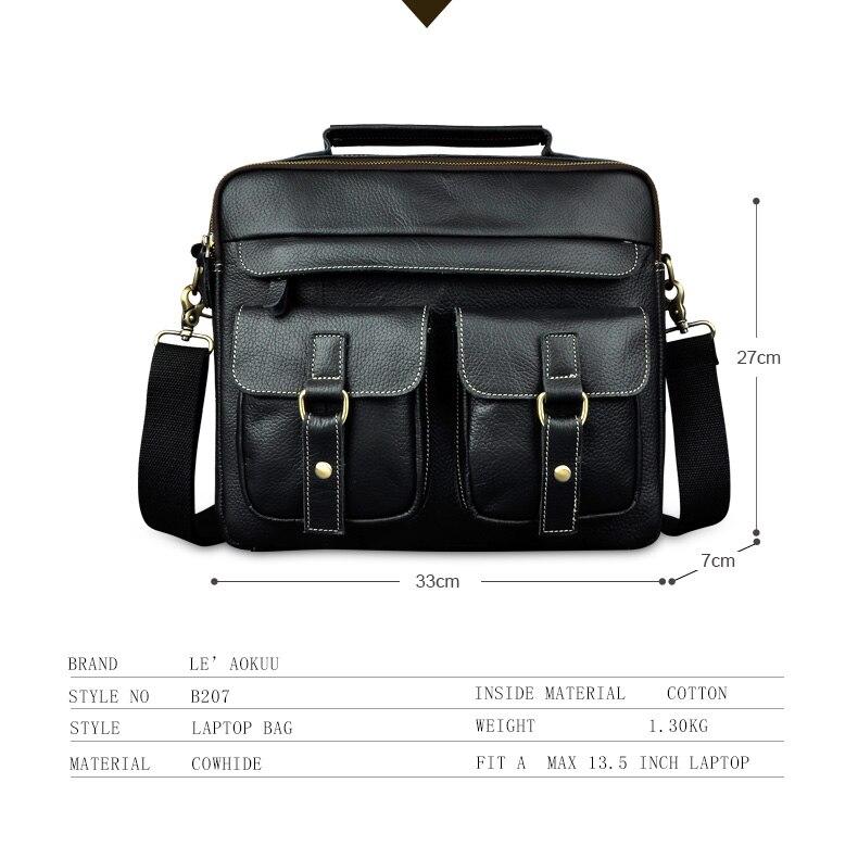 """HTB1GJOpdwvD8KJjy0Flq6ygBFXaJ Le'aokuu Men Real Leather Antique Style Coffee Briefcase Business 13"""" Laptop Cases Attache Messenger Bags Portfolio B207-d"""