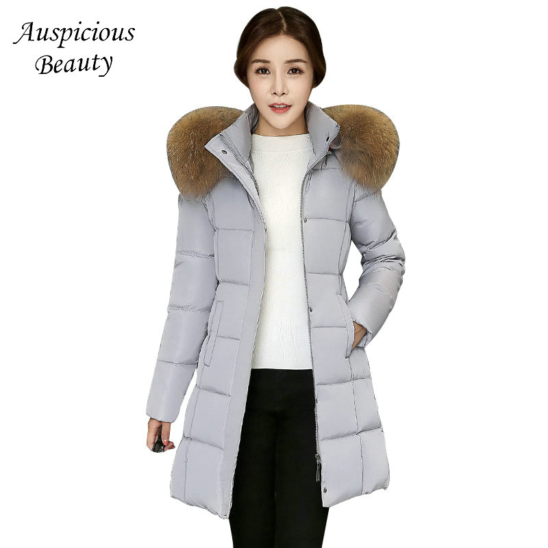 Women Winter Dress Jacket Fur Collar Hooded Down Parkas Female Coat Excellent Quality Zipper Long Jacket Thick Coat CXM28 2017 new winter a doll coat jacket in the long section of fox fur coat down all female hooded women thick parkas