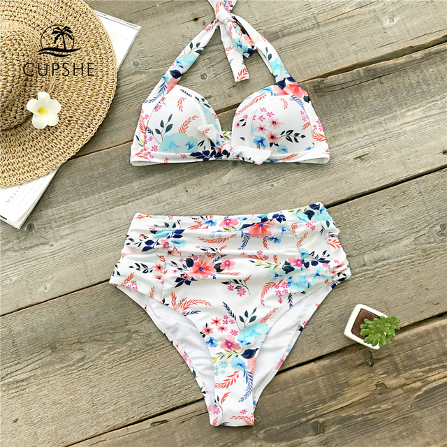 a555f6881ce0c CUPSHE Flora Print High Waisted Halter Bikini Sets Women Push Up Moulded  Shirred Two Pieces Swimwear