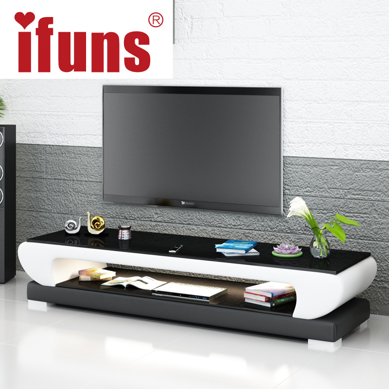 IFUNS New Design Modern White Black Brown Leather Tv Stand,tv Table  Furniture,tv Meubel Glass Top Tv Cabinet LED Right (fr)