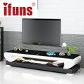 Ifuns novo design moderno branco preto brown couro suporte para tv, mobiliário mesa de tv, tv meubel tampo de vidro tv gabinete liderado direita (fr)
