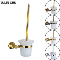 Rose Gold Toilet Brush Holder 304 Stainless Steel and Copper Antique Bronze WC Glass Brush Holder Set Chrome Vintage House Clean