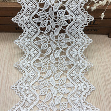 14 Yards cream white and black polyester embroidery guipure lace trim belt use for DIY sofa  and garment decoration lace trim guipure lace panel frill trim sweatshirt