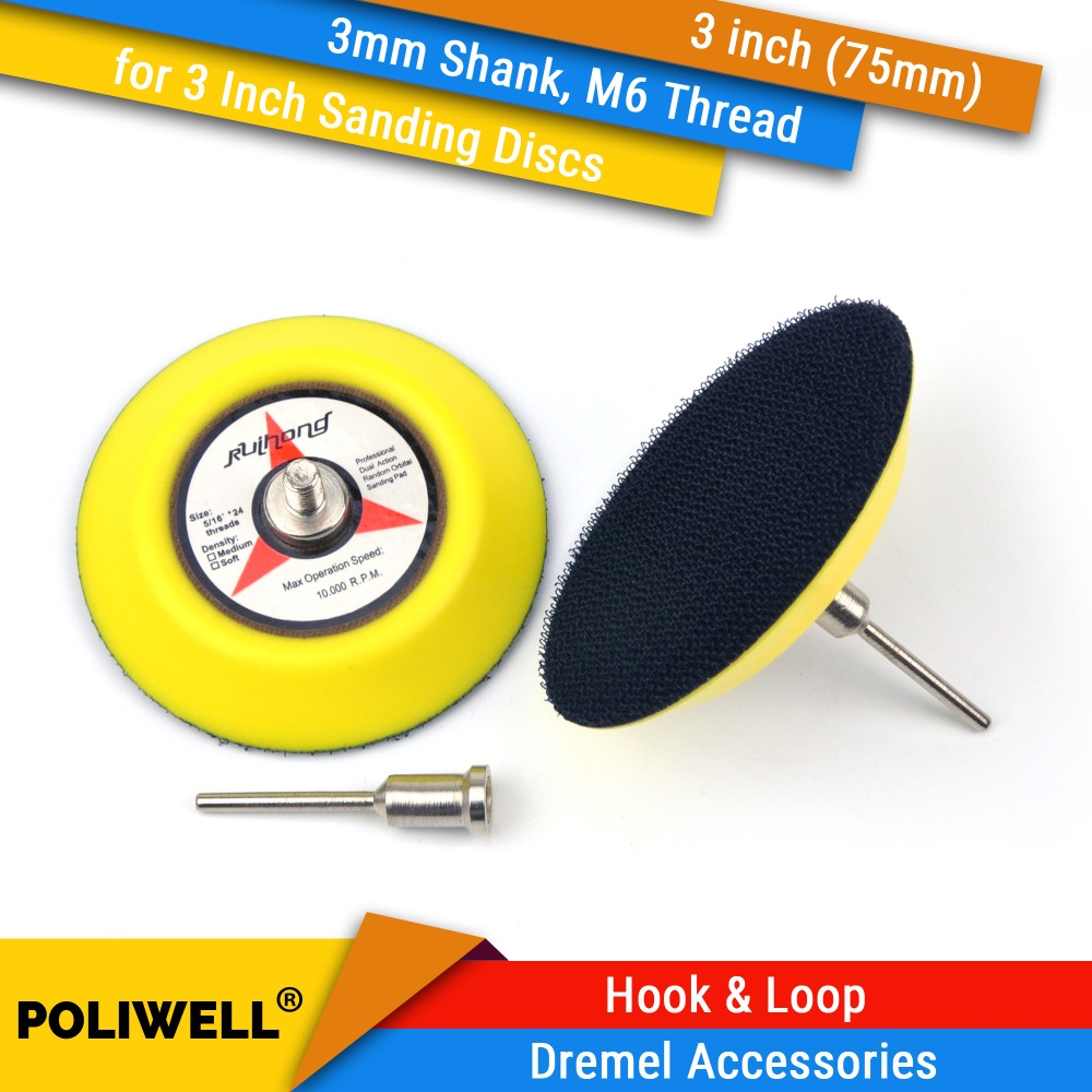 3 Inch(75mm) Back-up Sanding Pad 3mm Shank M6 Thread For 3