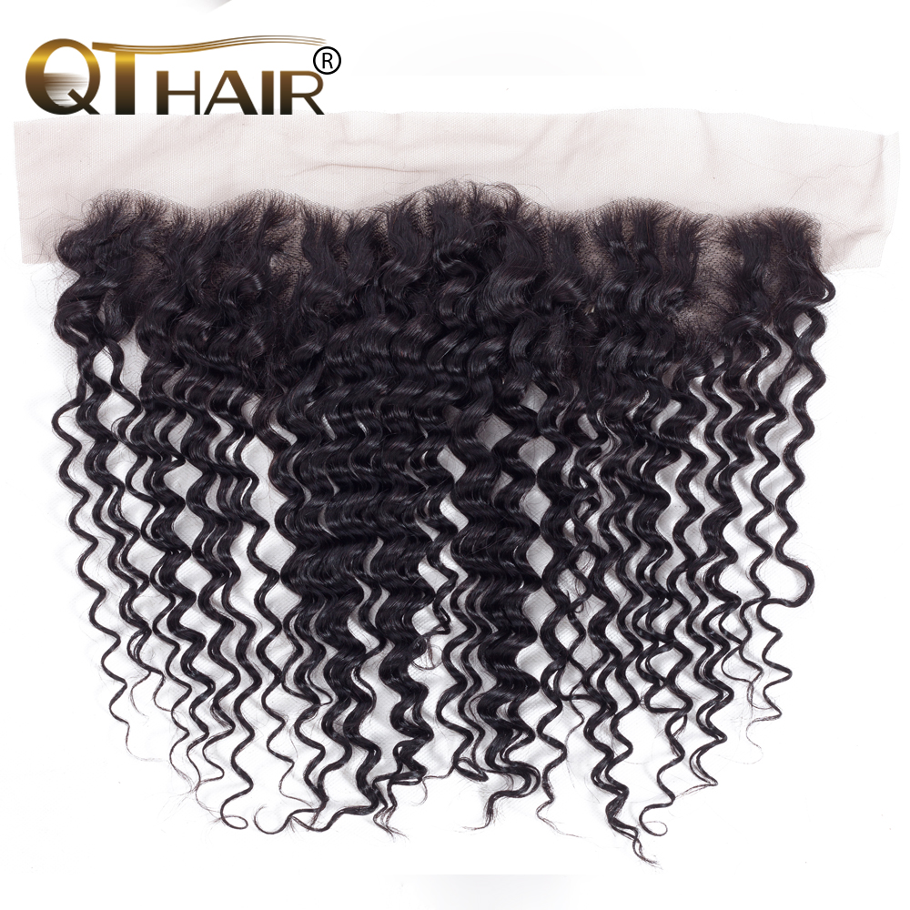 QT Malaysian Hair Deep Wave Lace Frontal Closure Ear to Ear Pre Plucked 13x4 Swiss Lace Natural Color Remy Hair