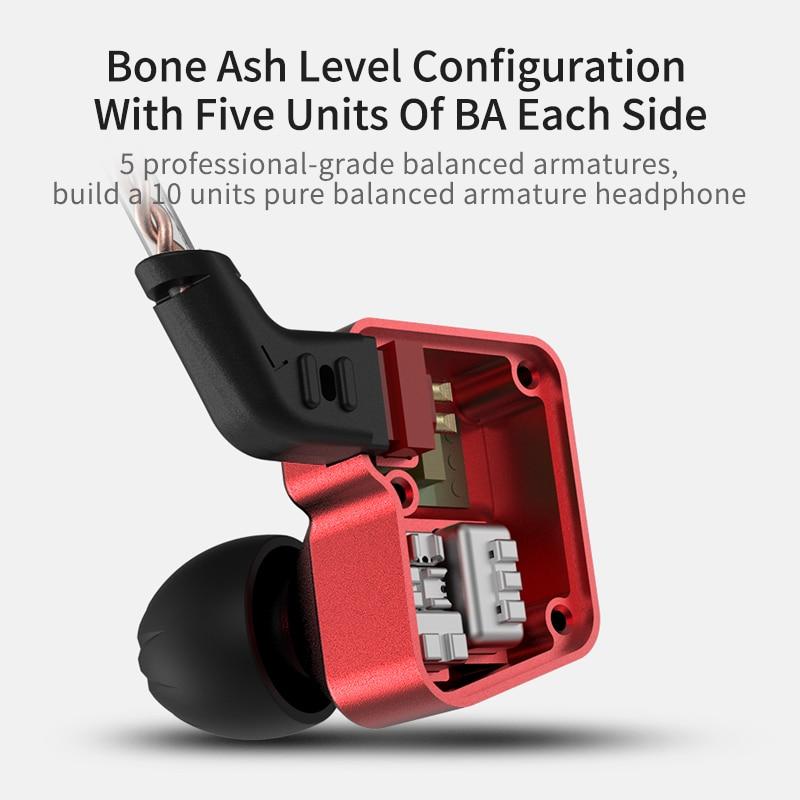 KZ BA10 Headset Balanced Armature Driver 5BA HIFI Bass Earbuds In Ear Monitor Earphone Sport Headset Noise KZ AS10 ZS10 ZS6
