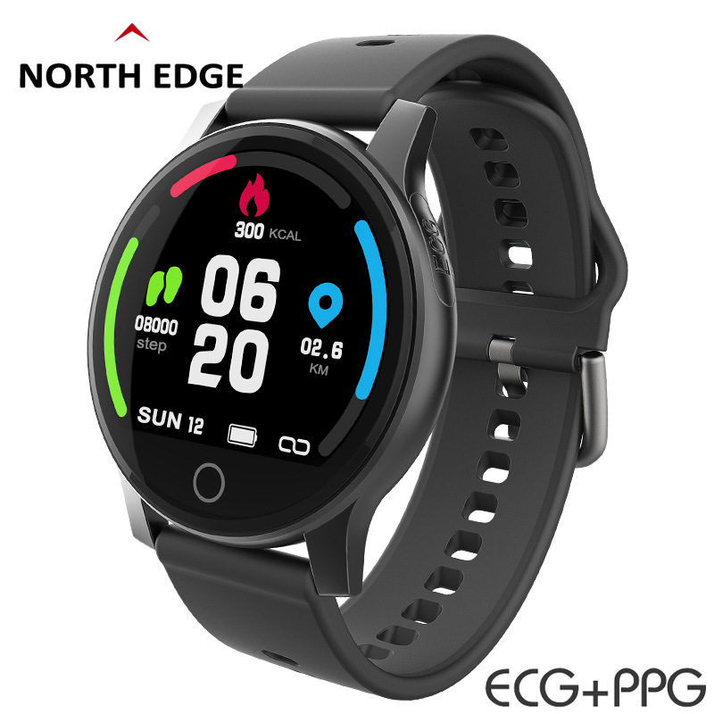 North Edge Smart Watch ECG PPC Waterproof IP67 Heart Rate Blood Pressure Smart Wristband Fitness Tracker