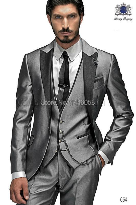 Здесь продается  2017 Custom Made Groom Tuxedo Silver Suit Peaked Lapel Best man Groomsman Men Wedding/Prom Suits Bridegroom Jacket+Pant+Vest+Tie  Одежда и аксессуары
