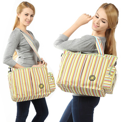 2018 Diaper Bag Multifunctional Maternity Nappy Bag Cotton Fashion Rainbow Stripes Mommy Tote Bag 3 in 1 Bag Suit Bolsa For Baby