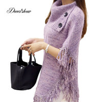 Women Oversized Mixed Cape Coat Poncho Sweater Knitted Tassel Long Mujer Casual Women Autumn Winter Warm