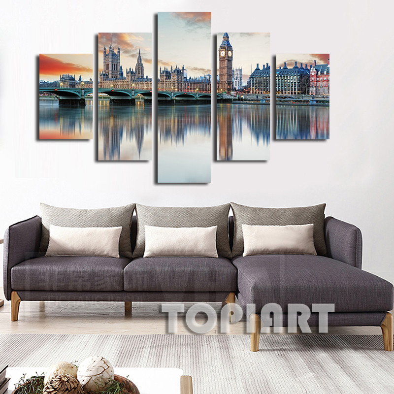 large wall decor canvas set of 4 multi panel london parliament house print painting city skyline