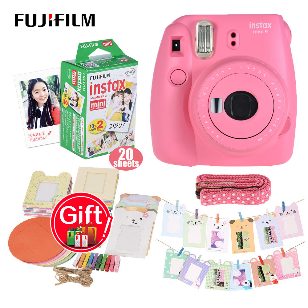 Fujifilm Instax Mini 8 Camera Kit Set Film Camera Photo Instant Camera with 20 * Film + Photo Frame + Clip + Hanging Strap art