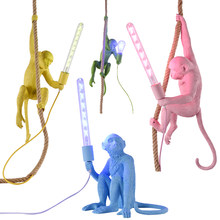 Modern Creative Art Monkey Pendant Lamps Loft Style Handmade Resin Monkey Pendant Lighting Table Floor Wall Style For Choice E27(China)