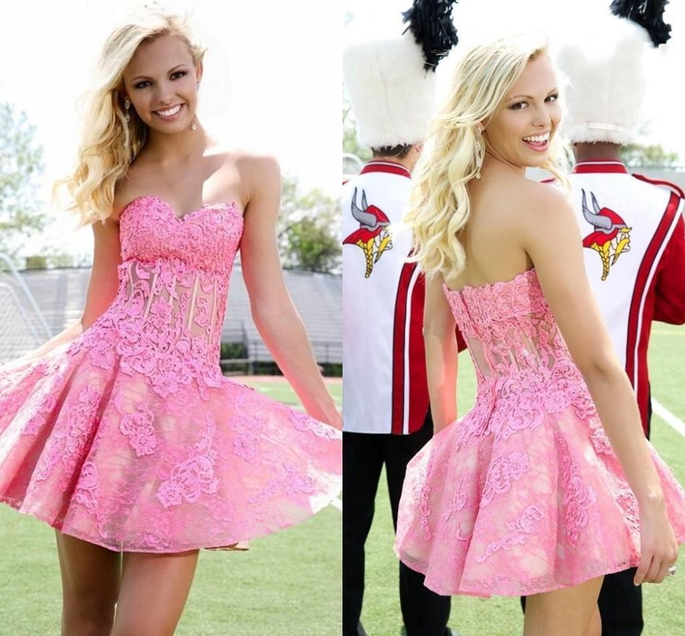 2017 New Gorgeous Baby Pink Homecoming Dresses Strapless Lace Mini ...