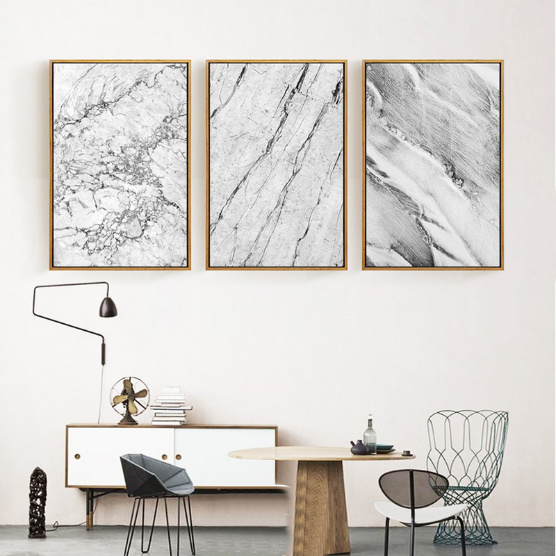 Marble Decoration: Abstract Grey Marble Canvas Paintings Nordic Posters And