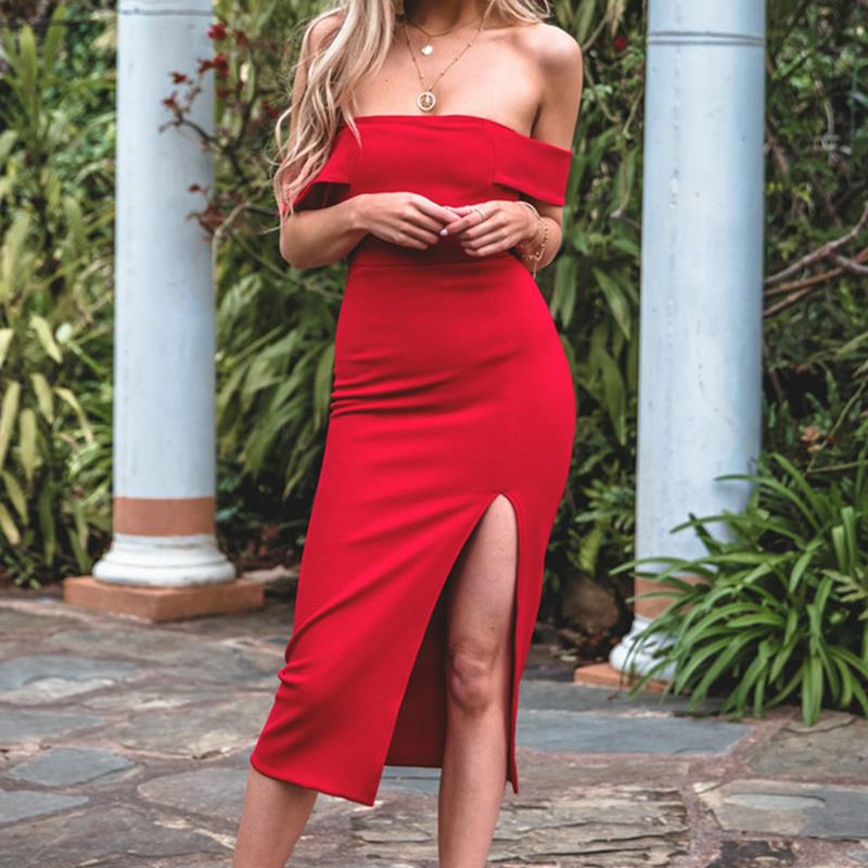 2018 Sexy Off Shoulder Elegant Party Dresses New Style Women Strapless Split Dress High Waist Bodycon Dress Vestidos WS5159S