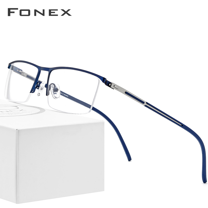 Alloy Glasses Frame Men Ultralight Half Square Myopia Prescription Eyeglasses 2019 New Optical Frames Screwless Eyewear Oculos