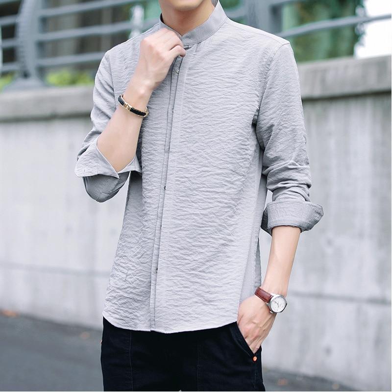 Рубашка Camisa hombre, тонкая белая рубашка с длинными рукавами, мужская версия, тонкая Модная рубашка, одноцветная рубашка для молодых мужчин, ра...