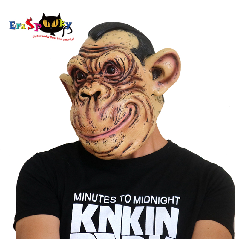 Eraspooky Realistic Latex Sphynx Monkey Mask Halloween Costume Adult Gorilla King Kong Carnival Party Bar Performance Supplies
