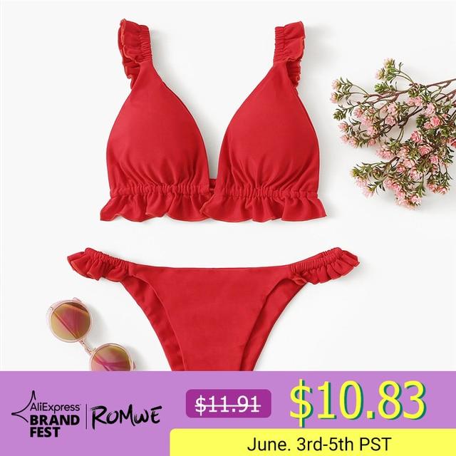 08d6140e0ed2 € 9.77 50% de DESCUENTO|Romwe Sport Red Mujeres Ruffle Trim Sexy Tanga  Bikini conjuntos de encaje en la parte posterior Bikinis con pantalones de  ...