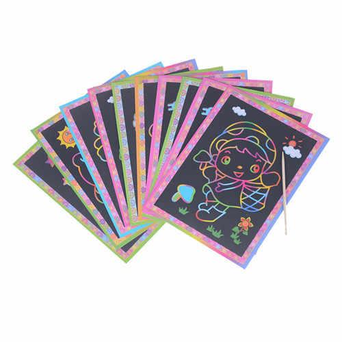 5pcs Due-in-one di Colore Magico Scratch Art di Carta Carte Raschiatura Giochi di disegno Da Colorare per I Bambini bambini Piccoli e di Grandi dimensioni