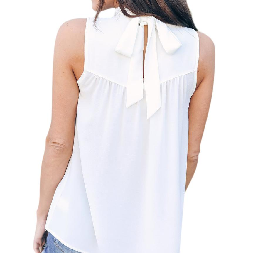 FEITONG Bowknot Sleeveless Crop Top Women Solid Casual Vest Tank Shirt Blusa Tops Summer Chiffon Female T-shirt Clothes 0120