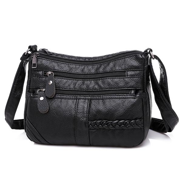 Annmouler Fashion Women Bag Pu Soft Leather Shoulder Bag Multi-layer Crossbody Bag Quality Small Bag Brand Red Handbag Purse