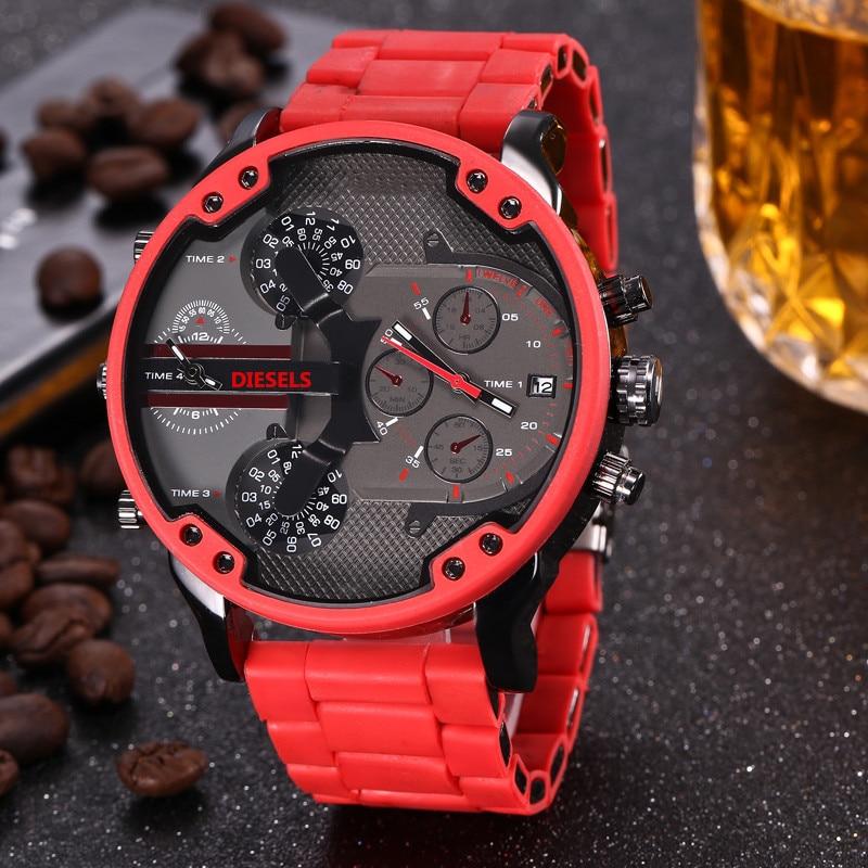 Multi Time Zone Wristwatch Military Clock Leather Strap 53MM Big dial DZ Stainless steel Watch Men's Sport Quartz diesels watche