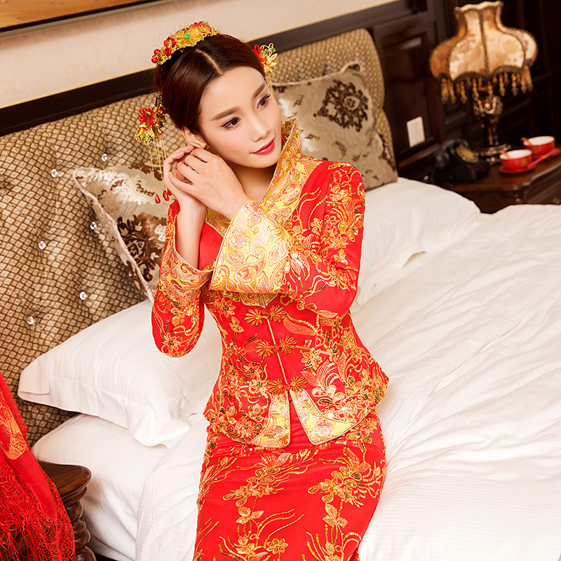Modern Chinese Traditional Dress Wedding Qipao Long Plus Size Cheongsam Top Vestido Oriental Style Dresses Bride Red Qi Pao