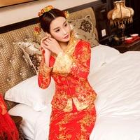 Modern Chinese Traditional Dress Wedding Qipao Long Plus Size Cheongsam Top Vestido Oriental Style Dresses Bride Red Qi Pao