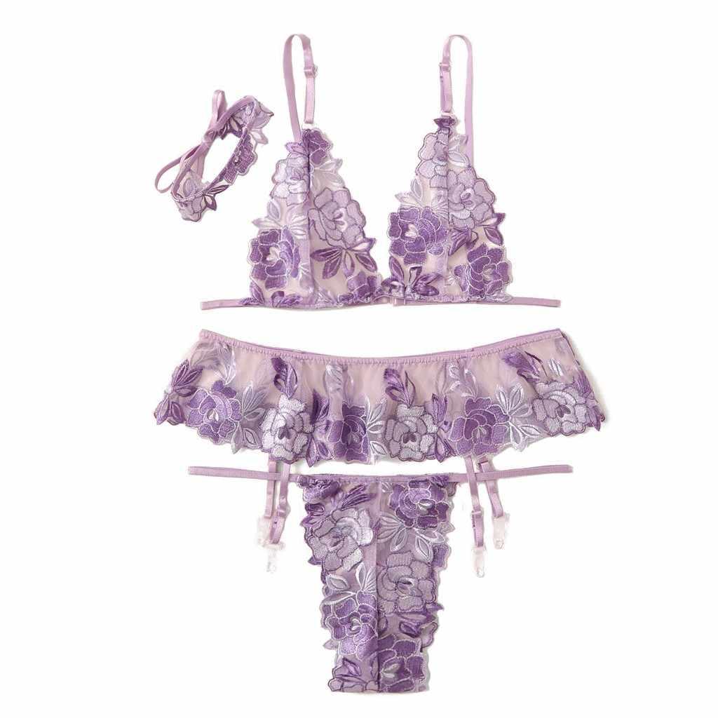 הלבשה תחתונה Disfras הארוטיקה Mujer סקסי נשים רקמת Lingeries תחרה תחתוני חוטיני בירית חזיית תחרה שרשרת סט 19June19P30
