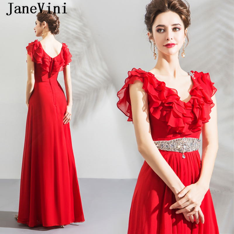 JaneVini Vestidos A Line Mother Of Bride Dress V Neck Tiered Ruffles Sequined Crystal Red Chiffon Evening Party Gowns For Women