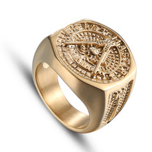 Aibeiou NEW Free Mason Rings Vintage Gold color Freemason Stainless Steel Rings Masonic Rings For Men's Gift Jewellry(China)