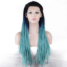 StrongBeauty Women's Lace Front wig Synthetic Heat Resistant Fiber Light Bluer Ombre Long Braiding Hair African American Wigs