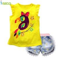 Baby Girls Short Clothing Sets T Shirt Shorts Jeans Lace Demin Short Pants Summer Children Suit