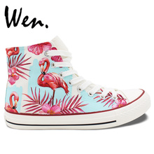 Wen Hand Painted Skateboarding Shoes Design Fluorescent Pink Flamingos Palm Leaves Flowers High Top Canvas Sneakers Unique Gifts
