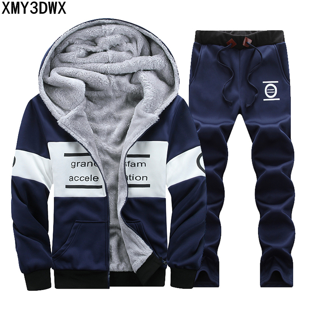 New Winter Plus Size 4XL Velvet Coats Men set Warm Thicken Hoodies Sweatshirts+Pants male Fashion thick Sportswear Tracksuits