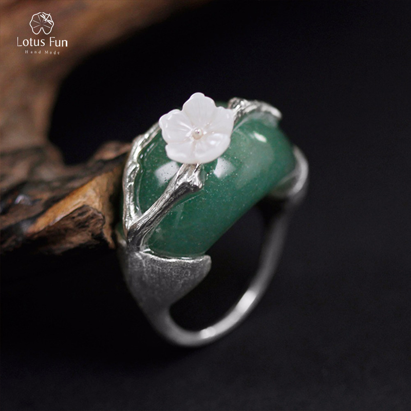 Lotus Fun 925 Sterling Silver Rings for Women Green Aventurine Stone Unique Fine Jewelry Big Punk Plum Flower Rings Size 7.5