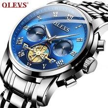 OLEVS Mens שעוני יוקרה למעלה מותג כחול שעון גברים Relogio Masculino אוטומטי תאריך שעון קוורץ זוהר לוח שנה שעוני יד