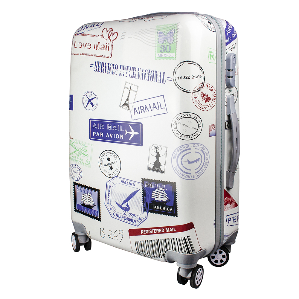 Fashionable suitcase with print PROFFI TRAVEL PH9207, M, plastic, medium, with combination lock fashionable suitcase with print proffi travel ph9209 m plastic medium with combination lock