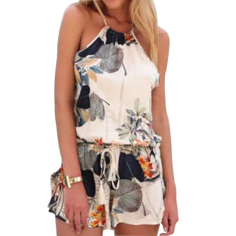 Floral print Halter Sleeveless Overalls Summer Rompers Women Jumpsuit Sexy Ladies Cotton Female Bodycon Body Playsuit