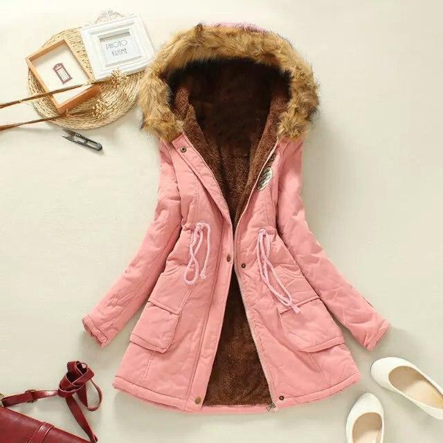 2017 מעילי החורף חדשים נשים נשי מעיל ברדס כותנה מזדמן עיבוי Parka פלוס