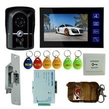 """Casa de Seguridad y Seguridad 7 """"Video de La Puerta Del Timbre Del Teléfono Intercom Cámara IR Monitor de Huelga Eléctrica Bloqueo RFID Keyfobs"""
