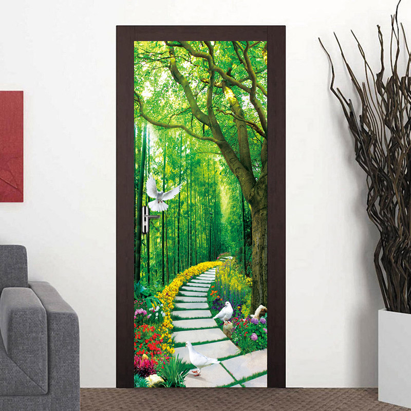 Custom Photo Wallpaper Murals 3D Forest Small Road Nature Landscape Large Wall Painting PVC Self-adhesive Door Mural Sticker custom mural wallpaper forest road 3d